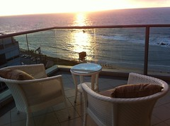 View from balcony, Maison Lisbona, Bat Yam (3) (dlisbona) Tags: sunset sea vacation holiday vacances soleil israel telaviv sonnenuntergang view apartment flat rental location appartement luxury seaview  coucherdusoleil batyam louer apartement sejour