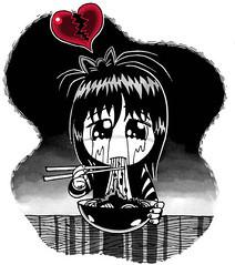 Black Noodles (Tom Bagley) Tags: calgary illustration tears chibi cartoon valentine sharpie brokenheart blackday magicmarkers tombagley jajangmyeon weirdvalentine sadchibi chibieatingnoodles