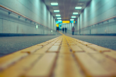 the way~ Seoul (~mimo~) Tags: city people blur color station yellow underground subway photography asia dof metro perspective tunnel korea line seoul determined contemplation theway lowpov mimokhair