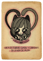 Purrr Love! (Anita Mejia) Tags: life cute love illustration pen ink cat day journal kitty doodle gato kawaii sanvalentin 14defebrero chocolatita anitamejia
