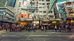 A Day in Hong Kong (isayx3) Tags: china street people color walking hongkong blog nikon angle stitch pano wide sigma disney billboards nikkor ultra f28 d800 14mm isayx3 plainjoestudios plainjoephotoblogcom
