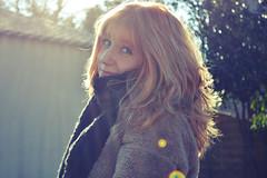 Sabrina (Ckom) Tags: woman girl smile hair soleil nikon bokeh femme halo jour blonde 1855mm 1855 fille sourire contre rousse dehors cheveux echarpe d3200
