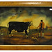 "246. Antique Style English ""Prize Bull"" Reverse Painting on Glass"