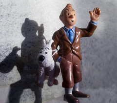 Tintin with Snowy (Brechtbug) Tags: from sculpture dog film statue by comics movie french toy toys tin comic belgium action snowy character coat cartoon running run plastic trench strip captain figure tintin adventures haddock herge the 2013