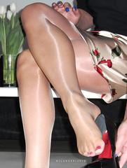 R0012354 (nylongrrl) Tags: red 6 feet stockings shiny toes highheels arch shine legs polish tights skirt glossy nails upskirt heels gloss heel satin stiletto cleancut ph ankle pantyhose dangle nylon toenails fuss nylons perlon garment collant 6inch platino