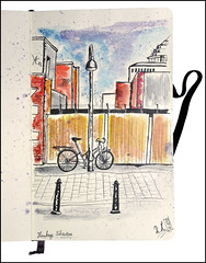 Fahrrad in der Schanze (rafaelmucha) Tags: color moleskine water ink watercolor notebook hamburg sketchbook architektur fahrrad copic schanze aquarell fineliner