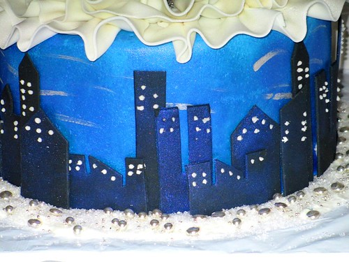 Ballroom Dancing Cake Side City Night Skyline Gumpaste Decoration