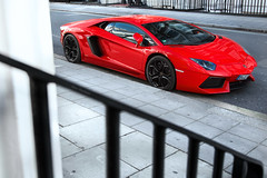That Red One. (Alex Penfold) Tags: b red mars berlin london germany plate knightsbridge german lp 700 rosso lamborghini lv numberplate lambo 8055 aventador lp700