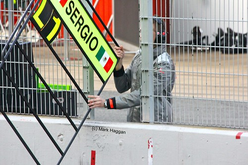 Sergio Perez's pit board in Formula One Winter Testing 2013