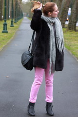 Pink trousers 5 (MartaCanga) Tags: martacanga fashion brussels belgium city streetstyle street style urban urbanstyle urbanlook urbanoutfit look outfit streetoutfit streetlook photography fashionphotography photos pictures blonde hair ponytail hairdo hairstyle day dayoutfit daylook girl woman beauty portrait people model modelling pose posing colours colors pink grey black makeup naturalmakeup accesories necklace scarf jumper trousers booties coat bag greyscarf pinknecklace greysweater fauxfur blackfauxfur fauxfurcoat blackfauxfurcoat pinktrousers blackbooties blackbag stradivarius stradivariuspants zara zaracoat primark primarkboots shoes blackshoes blogger