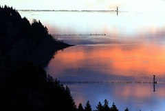 River of my Dream (Darrell Wyatt) Tags: trees light abstract reflection lines sunrise washington shadows columbia telephoto pilings sillohuette capehorn