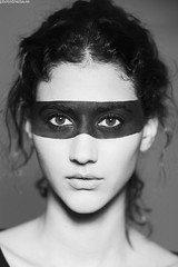 Warpaints (PHOTODRAMA *) Tags: portrait bw woman black art beauty face close makeup photodrama