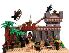 Attack on Draconia (edit) (ZephyrChaos) Tags: castle blood war lego attack gore vs myst moc lob draconia khrinn