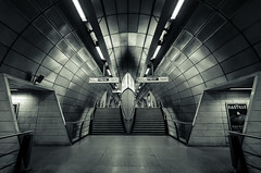ALIEN (Scott Baldock Photography) Tags: city london station underground mono alien tube symmetry waterloo borough blackfriars southwark se1 cityoflondon lightroom cityarchitecture