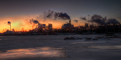 Industrial sunset [Explored, 2013-03-16] (Captured by Mr. Lehnecke) Tags: sunset chimney plant industry ice backlight canon factory glow 21 sweden dusk smoke tripod wideangle explore pollution crop 7d vnern 1022 storaenso emission hammar vrmland industrialism skoghallsverken
