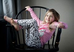 Four and a Half (dbalyoz) Tags: pink girl four spotted relaxed reclined feetup funnygirl