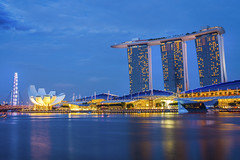 Marina Bay Sands Hotel (anekphoto) Tags: city light sea sky urban reflection building tower tourism water skyline architecture modern night skyscraper marina river outdoors evening bay town singapore asia downtown cityscape exterior waterfront riverside dusk district famous central landmark center scene structure illuminated business commercial metropolis southeast financial finance