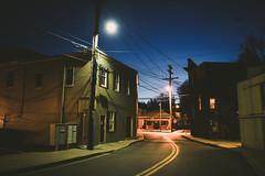 Downtown (.monodrift) Tags: street lamp night dark high md nikon main 28mm maryland iso sykesville f18g