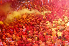 Holi at Braj Bhoomi (@k@sh) Tags: red people india color festival canon temple crowd madness 1750 ritual tamron holi f28 barsana radha rani tellow mathura akash festivalofindia 550d coloursofindia nandagaon