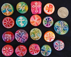 Clay cachabons 1 (Flyingkumquatstudio) Tags: rainbow stamps jewelry christian polymerclay resin easternorthodox alcoholinks cachabons