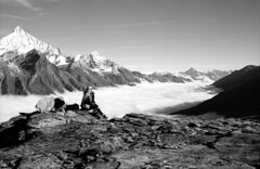 Dreams above the sky... (Vitaly Sergeevich) Tags: mountains zermatt switzerland blackandwhite ilford film analogue girl dreams tranquility calm serenity peace calmness stillness