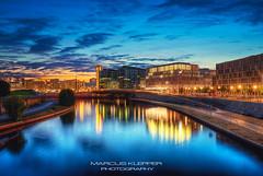 Hauptbahnhof Berlin (Marcus Klepper - Berliner1017) Tags: sky reflection berlin skyline clouds river germany landscape lights hauptstadt hauptbahnhof nightview fluss spree mitte spiegelung hdr blauestunde moabit citscape