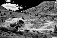 Mine Tailings (Scosanf) Tags: colorado coloradotrails historic miningtown ghosttown mountains rockymountains sanjuanmountains nature outdoor landscape blackandwhite bw monochrome summer travel trip vacation canon eos 6d ef2470mmf28lusm topazlabs abandoned forgotten decay
