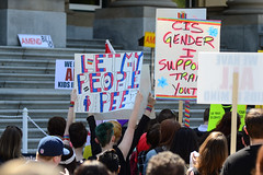 Let My People Pee (Vegan Butterfly) Tags: transgender trans rights human lgbt bill 10 bathrooms washrooms edmonton protest protesters demonstration demonstrators rally event people sign gender identity youth candid outside outdoor
