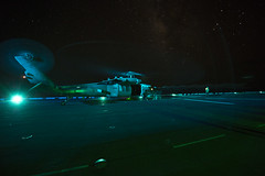 160823-N-DT061-015 (CNE CNA C6F) Tags: amphibiousreadygroup flightdeck lhd1 mh60s seahawk sailors usnavy usswasp wasparg flightoperations nightflightoperations mediterraneansea