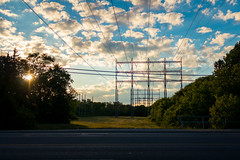 (A Great Capture) Tags: agreatcapture agc wwwagreatcapturecom ash2276 ald adjm toronto on ontario canada canadian photographer ashleylduffus sunset sunsetting dusk sundown powerlines park green sky blue white puffy clouds mississauga gold northamerica