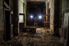 Wizard of lightning (John Getchel Photography) Tags: abandoned detroit stagnesschool decay flash flashphotography lensflare selfportrait urbex