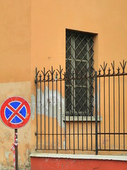 window, fence and the sign (Hayashina) Tags: modena italy window fence sign warmcolour hff
