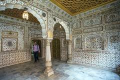 Turista en uno de los pasillos profusamente ornamentados del Fuerte de Junagarh, en Bikaner (Rajastn-India), 2016. (Luis Miguel Surez del Ro) Tags: bikaner rajastn india palacio junagarh pinturas