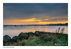 Here Comes the Rain (Nick_Miles) Tags: nikon d7000 mudeford sunset clouds water sky 1870 christchurch landscape view boats dorset evening summer rain storm reflection colours