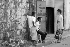 be ware of guard (ubo_pakes) Tags: street door city portrait people bw men wall photography photo blackwhite nikon gate asia candid philippines group guard cebu discussion 60 visayas ubo pakes mygearandme mygearandmepremium streetphotodowntowncebu