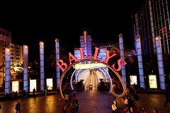 Bally's Resort (Prayitno / Thank you for (12 millions +) view) Tags: las vegas color colour station lights hotel boulevard nevada entrance tunnel front casino resort nv strip monorail ballys blvd lv konomark