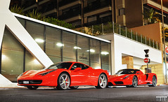 Brothers (Willem Rodenburg) Tags: park lighting red cars beautiful car by night 35mm real photography grey nice nikon awesome parking wheels fast ferrari montecarlo monaco mc exotic enzo parked nightlife mm lovely 18 rims 35 cipriani supercar v8 willem supercars valet combo v12 lightpaint 458 d90 cs6 midengine hypercar rodenburg ubercombo ferraricombo
