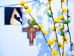 In Front of Me (Eleven ~ NYC~ Teresa) Tags: flowers love me beautiful saint francis colorful pretty catholic cross jesus front teresaescamilla canong12 elevensphotography