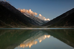Lake Saif-ul-Maluk and alpenglow on Malika Parbat (Shahid Durrani) Tags: pakistan lake valley areas northern kaghan malika saifulmaluk parbat