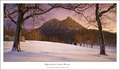 Grandfather Panorama (DKNC) Tags: blue trees winter snow sunrise ridge parkway highlandgames grandfathermountain macraefields sugarmountainphotography