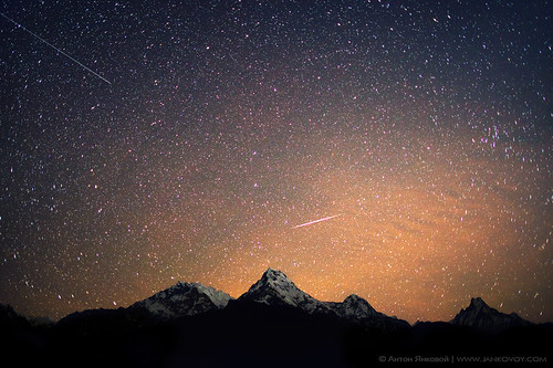 Meteor and Satelite above the Himalayas