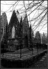 Mausoleum (Oh Kaye) Tags: building oregon portland blackwhite mausoleum lonefircemetery rememberinglovedones fencefriday 113in2013