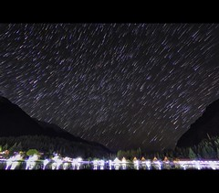 Comets Shower 2.0 (Babar.Asghar Photography) Tags: canon eos60d dslr photography digitalphotography longexposure ndfilter haidandfilter 10stops 11mm tokina1116mmf28 concordians goldenhour goldendusk sunset dusk osiris egyptianmythology lightroom4 adobe clouds streaks thin dark yellow red blue reflection pier sand beach borabora club tripod landscape waterscape lake water waves smooth silky warm babarasghar babar asghar magiclantern 1022 usm skardu kachuralake shangrilla