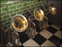 Crazy Urinals!! (Barry_Adams) Tags: uk strange sussex crazy pub inn bell east trumpets brass wacky urinals toilets iphone lav ticehurst barryadams ticehurstenglandunitedkingdom