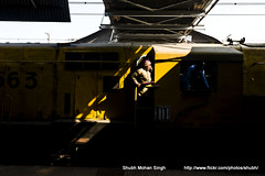 Shunting Engine (Shubh M Singh) Tags: light portrait india color yellow train diesel indian guard engine shade driver locomotive minimalism railways mela minimalsim shunting walkie talkie kumbh irfca 2013