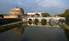 Castel and Ponte Sant' Angelo , Rome. (AlbOst) Tags: italy rome reflections cycling rivers castelsantangelo rivertiber pontesantangelo famousbridges famousbuildinds