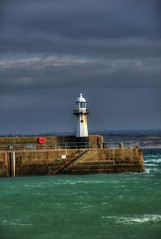 ST IVES  LIGHTHOUSE, ST IVES, CORNWALL, ENGLAND. (ZACERIN) Tags: st ives st digitalcameraclub coast blue hdr of nikon lighthouse pictures lighthouse lighthousetrek cornwall ives england cornish coastline seaside zacerin