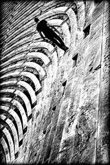 the curved path ahead (bostankorkulugu) Tags: blackandwhite bw white man black sports monochrome sepia architecture greek blackwhite back graphics geometry stadium walk marathon hellas athens greece marble olympic olympics curve curved tilt pangrati bostanci tilted olympicgames bostan olympiad korkut ellada atina graphism attiki summerolympics kallimarmaro  panathenaicstadium attika panathinaiko  bostankorkulugu