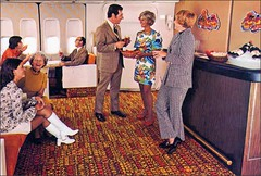 Continental 747  Ponape Lounge, Airline attendant (1950sUnlimited) Tags: vintage photos jets 1960s airlines stewardess midcentury airhostess lounges jetairliners continental747 ponapelounge