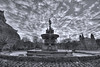 Ross Fountain black and white (elementalPaul) Tags: bw fountain clouds landscape pentax tripod hdr castlerock sigma1020mm rossfountain princessstreetgardens photomatixpro 5xp k10d pentaxk10d